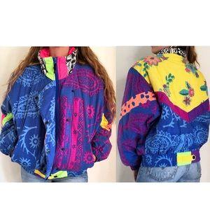 Vintage Obermeyer Colorful Printed Ski Jacket 90s